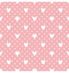 Tile cute pattern with white hearts on polka dots vector