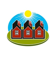 Bright of simple country houses on sunrise b vector