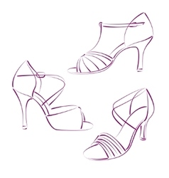 Set of elegant sketched woman s shoes vector