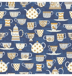 Seamless background with teacups and teapots vector