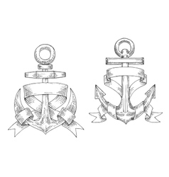 Sketched marine anchors wrapped by ribbon vector