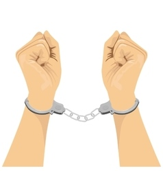 pair of hands in handcuffs vector image