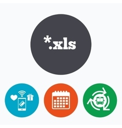 Excel file document icon download xls button vector