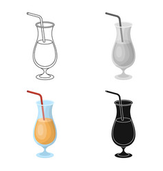 a cocktail in a glass with a straw drink for vector image vector image