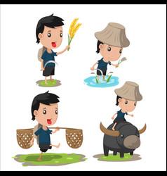 Asian farmer cartoon character set vector