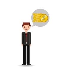 business man cartoon and coins money vector image vector image