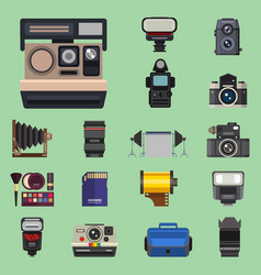 camera photo optic lenses set different types vector image vector image