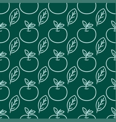 Cartoon fresh apple doodle fruits in flat style vector