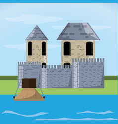 castle with tower design vector image vector image