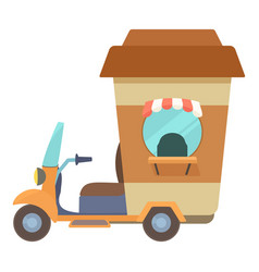 Fast food trolley motorbike with coffee cup icon vector