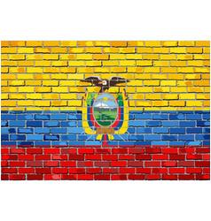 Flag of ecuador on a brick wall vector