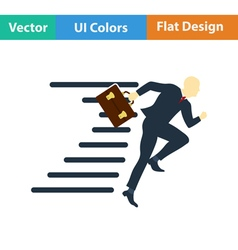 Flat design icon of accelerating businessman vector