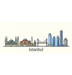 Flat line istanbul banner vector