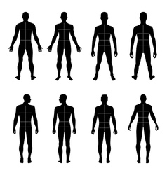 Full length front back man silhouette vector image vector image