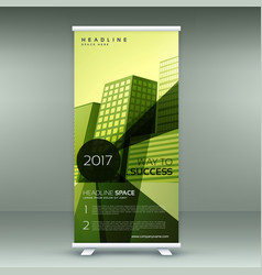 green modern roll up banner stand design with vector image