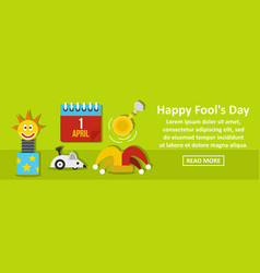 happy fools day banner horizontal concept vector image vector image