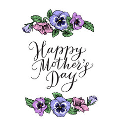 happy mothers day card with text and frame of vector image vector image