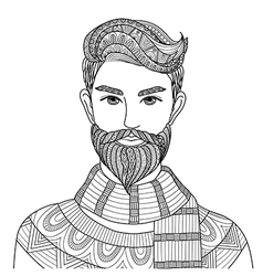 Hipster guy coloring vector