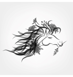 Horse floral head for your design Symbol of 2014 vector image