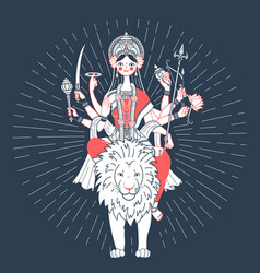 Icon of goddess durga a lion vector