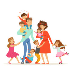 Large family with many children kids babies and vector
