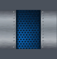 Metal brushed background with blue perforated vector
