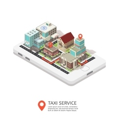 Mobile Taxi Service Isometric Design vector image