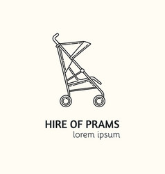 Modern linear style hire of prams logotype vector