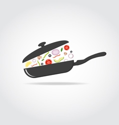 Pan with vegetables and cap vector