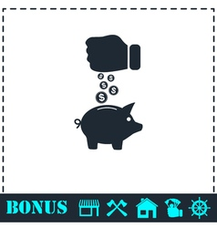 Piggy bank and hand with coin icon flat vector image vector image