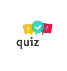 Quiz logo poll questionnaire icon with vector image vector image