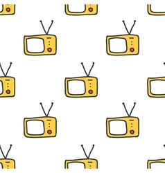 Retro tv doodle seamless pattern background vector