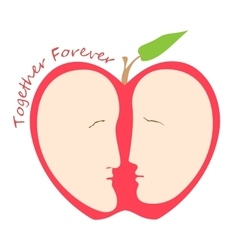 Romantic female and male faces in form of apple vector