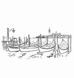 San giorgio maggiore church and lido island sketch vector
