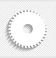 saw sign white icon with soft shadow on vector image