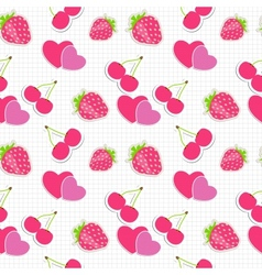 Seamless pattern with heart cherry strawberry vector image
