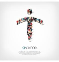 Sponsor people sign 3d vector