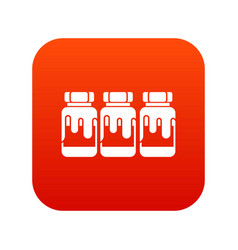 Three plastic jars with gouache icon digital red vector
