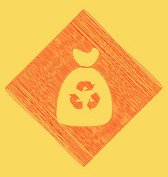 trash bag icon red scribble icon obtained vector image vector image