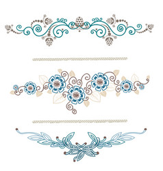 Vintage decoration pages blue vector