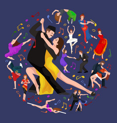 yong couple man and woman dancing tango with vector image