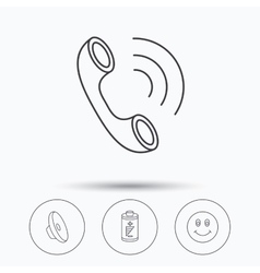 Phone call battery and sound icons vector