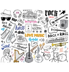 Music instruments set hand drawn sketch isolated vector