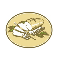 Bread Loaf With Knife and Board Woodcut vector image