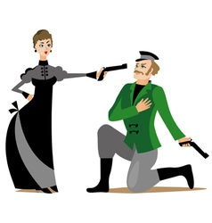 Duel between man and woman vector