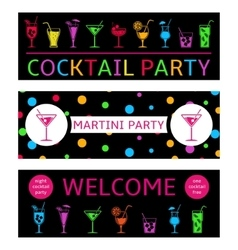 Cocktail party banners vector