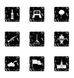 Holiday in russia icons set grunge style vector
