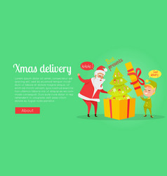Xmas delivery best presents santa and gnome vector