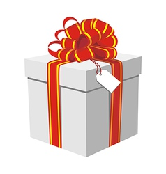 Gift box with red and golden ribbon vector