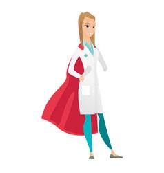 Caucasian doctor wearing a red superhero cloak vector